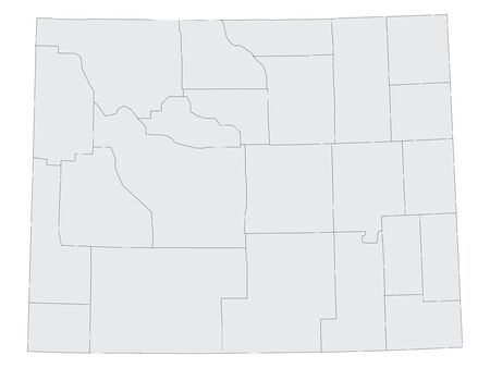 Gray Map on White Background of Counties of USA Federal State of Wyoming Иллюстрация