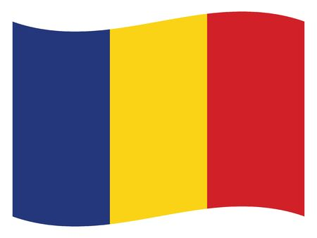 Waving Flat Flag of the European County of Romania