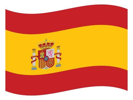 Waving Flat Flag of the European County of Spain Illusztráció