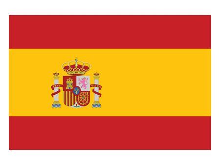 Flat Flag of the European County of Spain Illusztráció
