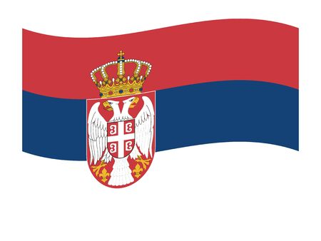 Waving Flag of the European Country of Serbia