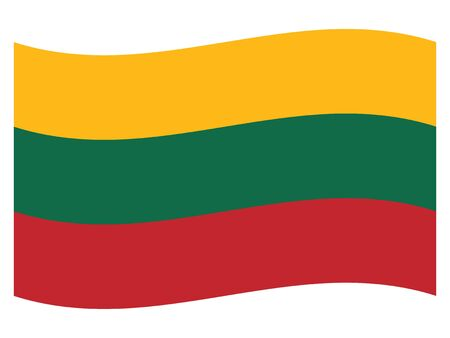 Waving Flag of the European Country of Lithuania