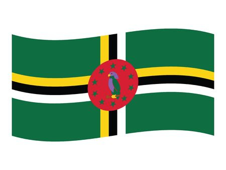 Waving Flat Flag of Central American Country of Dominica