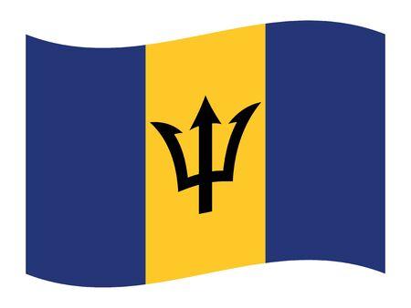 Agitant le drapeau plat du pays d'Amérique centrale de la Barbade Vecteurs