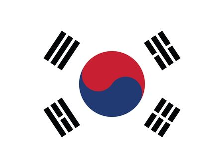 Flat Flag Asian Country of South Korea