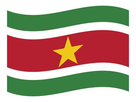 Waving Flat Flag Asian Country of Suriname