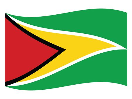Waving Flat Flag Asian Country of Guyana