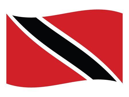 Waving Flat Flag Asian Country of Trinidad and Tobago