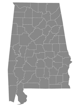 Gray Outline Counties Map of US State of Alabama Banque d'images - 139067166