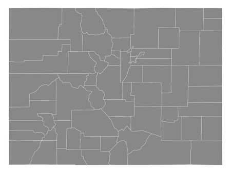 Gray Outline Counties Map of US State of Colorado