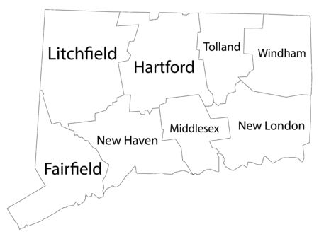 White Outline Counties Map With Counties Names of US State of Connecticut