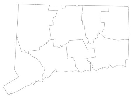 White Outline Counties Map of US State of Connecticut