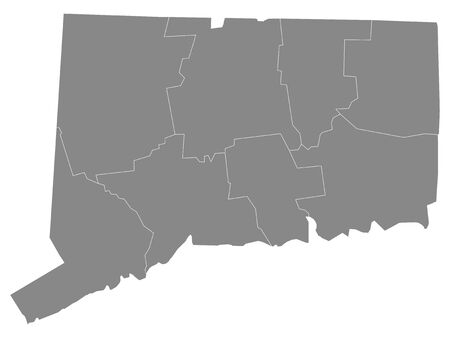 Gray Outline Counties Map of US State of Connecticut 向量圖像