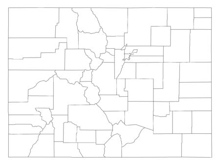 White Outline Counties Map of US State of Colorado