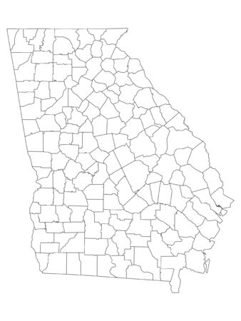 White Outline Counties Map of US State of Georgia 向量圖像