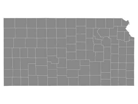 Gray Outline Counties Map of US State of Kansas 向量圖像