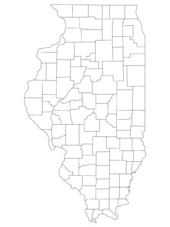 White Outline Counties Map of US State of Illinois