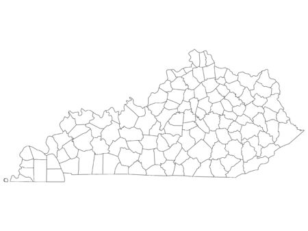 White Outline Counties Map of US State of Kentucky