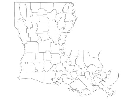White Outline Parishes Map of US State of Louisiana