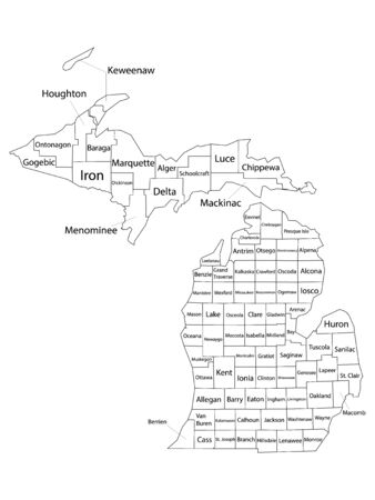 White Outline Counties Map With Counties Names of US State of Michigan 向量圖像