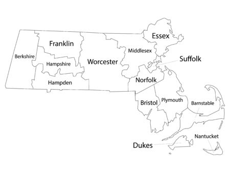 White Outline Counties Map With Counties Names of US State of Massachusetts