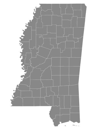 Gray Outline Counties Map of US State of Mississippi