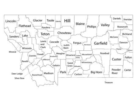 White Outline Counties Map With Counties Names of US State of Montana  イラスト・ベクター素材