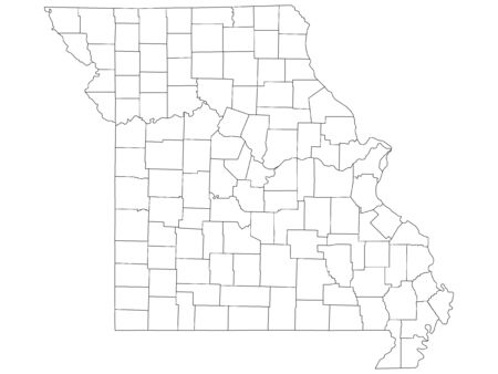 White Outline Counties Map of US State of Missouri