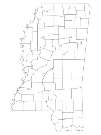 White Outline Counties Map of US State of Mississippi