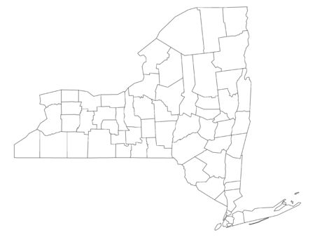 White Outline Counties Map of US State of New York