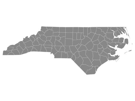 Gray Outline Counties Map of US State of North Carolina