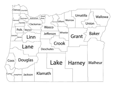White Outline Counties Map With Counties Names of US State of Oregon 向量圖像