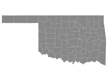 Gray Outline Counties Map of US State of Oklahoma 向量圖像