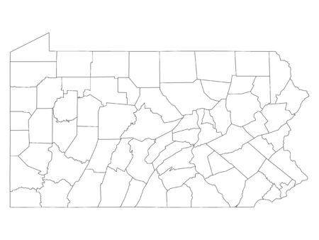 White Outline Counties Map of US State of Pennsylvania 向量圖像