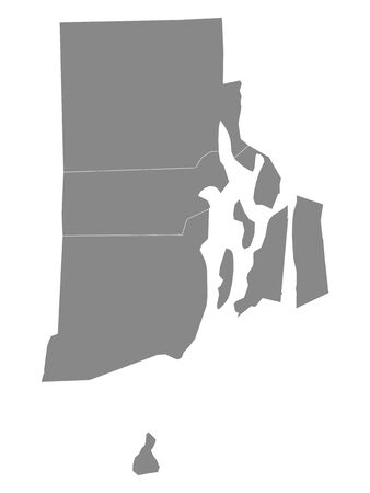 Gray Outline Counties Map of US State of Rhode Island 向量圖像