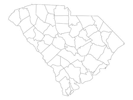 White Outline Counties Map of US State of South Carolina