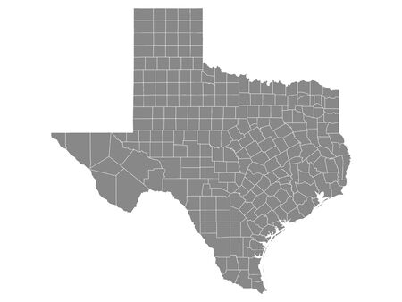 Gray Outline Counties Map of US State of Texas 向量圖像