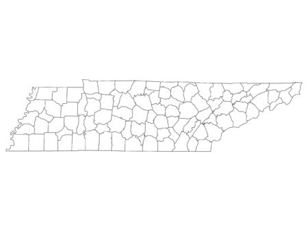 White Outline Counties Map of US State of Tennessee 向量圖像