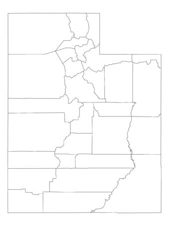 White Outline Counties Map of US State of Utah