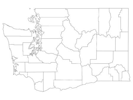 White Outline Counties Map of US State of Washington
