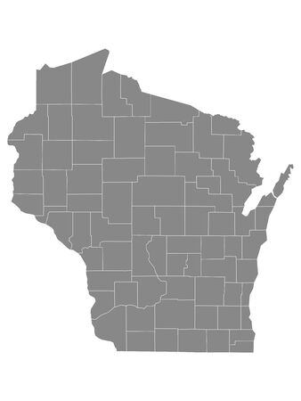 Gray Outline Counties Map of US State of Wisconsin 向量圖像