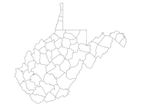 White Outline Counties Map of US State of West Virginia