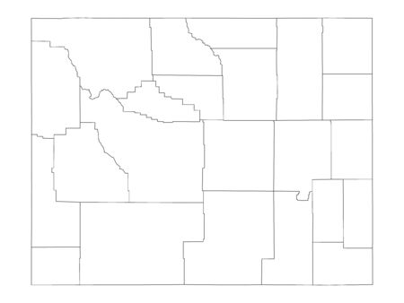 White Outline Counties Map of US State of Wyoming