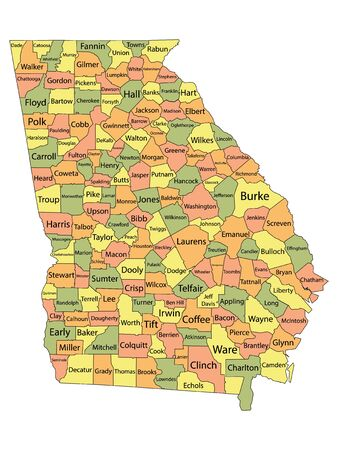 Colorful County Map With Counties Names of the US Federal State of Georgia