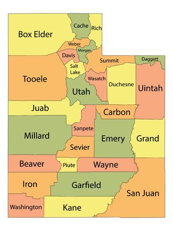 Colorful County Map With Counties Names of the US Federal State of Utah 向量圖像
