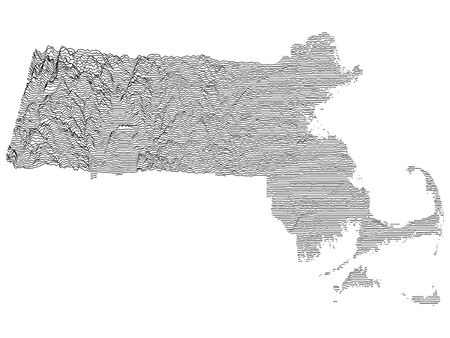 Topographic Relief Peaks and Valleys Map of US Federal State of Massachusetts