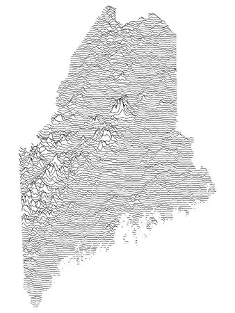 Topographic Relief Peaks and Valleys Map of US Federal State of Maine Vecteurs