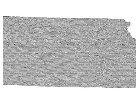 Topographic Relief Peaks and Valleys Map of US Federal State of Kansas Illustration