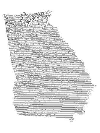 Topographic Relief Peaks and Valleys Map of US Federal State of Georgia