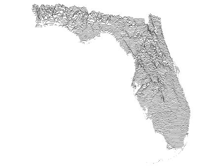Topographic Relief Peaks and Valleys Map of US Federal State of Florida Illustration